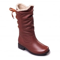 Tan leather mid calf flat boot with side zip