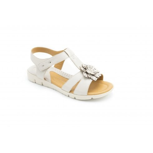 Padders Tansy Wide Fit Ivory Leather T-bar Velcro Sandal
