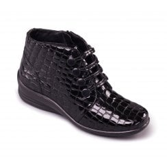 Tanya Black Crocodile Leather Lace Up Ankle Boot