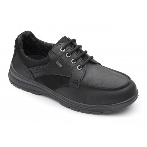 Padders Trail Black Waterproof Leather Lace Up Shoe