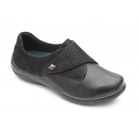 Padders Viola Black Leather Flat Velcro Shoe