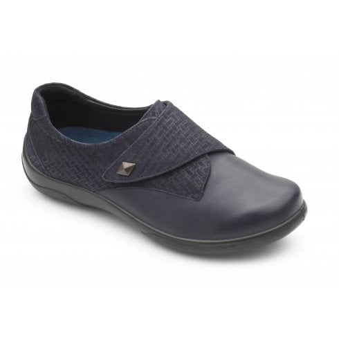 Padders Viola Navy Leather Flat Velcro Shoe