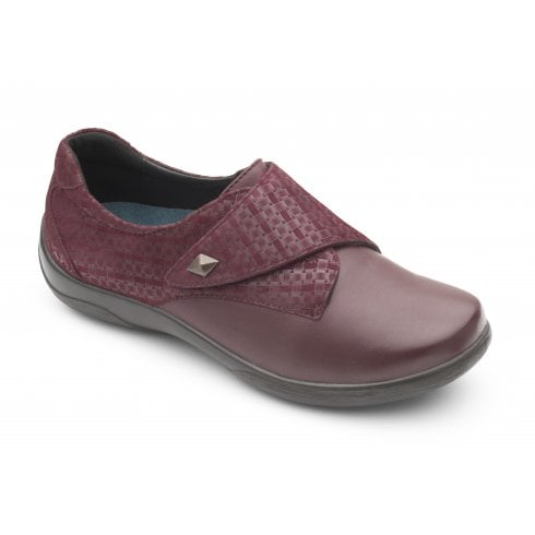 Padders Viola Plum Leather Flat Velcro Shoe