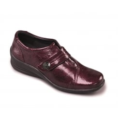 Wine patent leather flat Velcro shoe