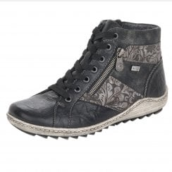 R1497-45 Black Leather Gortex Flat Boot With Laces And Side Zip
