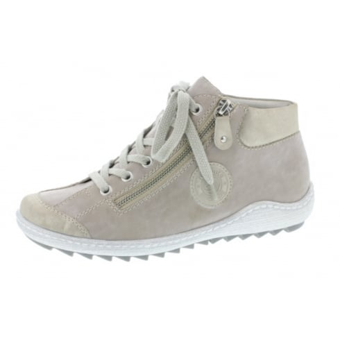 Remonte Beige leather flat lace up trainer style boot with side zip