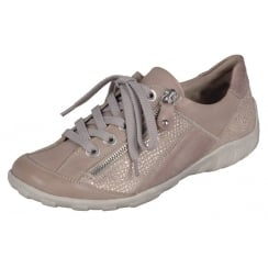 beige/rose leather flat lace up trainer style shoe