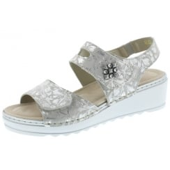 Beige/silver leather platform wedge sandal with velcro straps