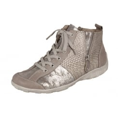 Beige/steel flat lace up trainer style boot with side zip