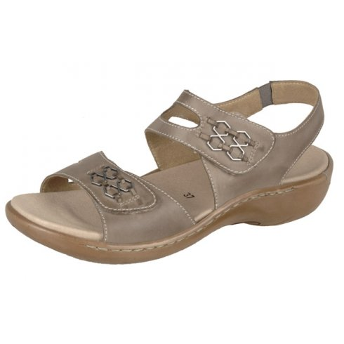 Remonte Beige/taupe leather flat sandal with dual velcro fastening