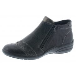 Black and grey leather flat ankle boot with dual zips
