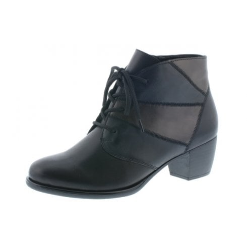 Remonte Black/Blue/Grey Leather Heeled Lace Up Ankle Boot With Side zip