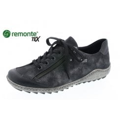 Black Gortex waterproof flat shoe with laces and side zip