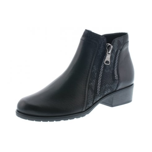 Remonte Black Leather Flat Ankle Boot With Side Zip Fastening