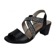Black leather heeled sling back sandal