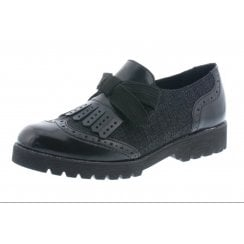 Black leather loafer style slip on shoe