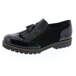 Black leather/ nubuck slip on shoe