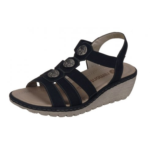 Remonte Black leather wedge sandal