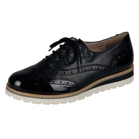 Remonte Black patent and leather brogue style flat lace up shoe