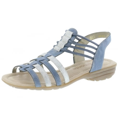 Remonte Blue and beige flat elasticated pull on sandal