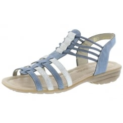 Blue and beige flat elasticated pull on sandal