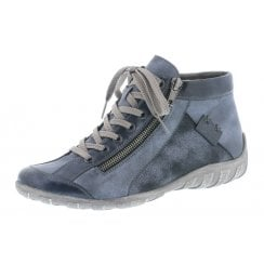 Blue flat boot with laces and side zip