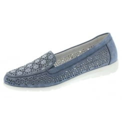 Blue flat moccassin style shoe with diamante detail