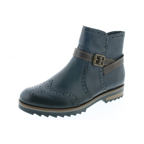 Remonte Blue leather ankle boot with side zip