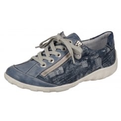 Blue leather flat trainer shoe with laces and side zip fastening