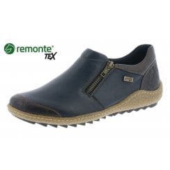 Blue leather gortex flat slip on shoe