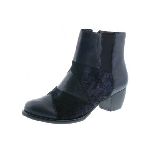 Remonte Blue Leather Heeled Ankle Boot With Side Zip