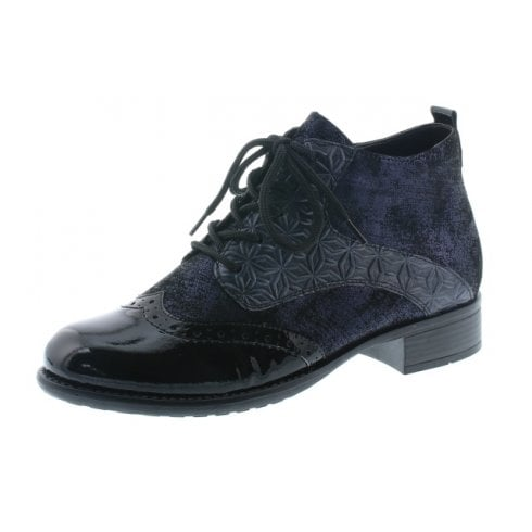 Remonte Blue Leather Heeled Brogue Style Boot With Laces And Side Zip