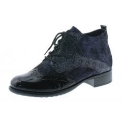 Blue Leather Heeled Brogue Style Boot With Laces And Side Zip