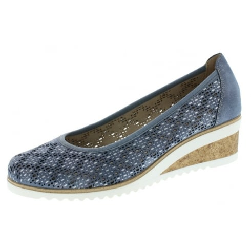 Remonte Blue Leather Wedge Espadrille Style Shoe