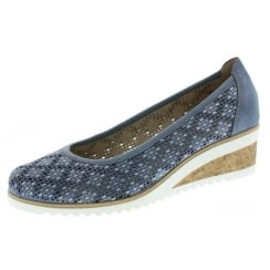 Blue Leather Wedge Espadrille Style Shoe