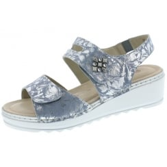 Blue/silver leather platform wedge sandal with velcro straps