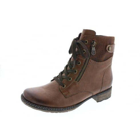 Remonte Brown leather flat ankle boot with laces and side zip fastening