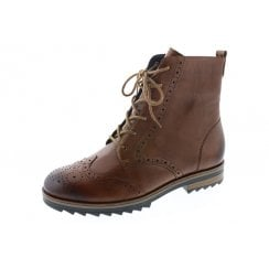 Brown leather flat lace up boot with side zip