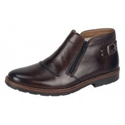 Brown Leather flat lambswool lined slip on boot