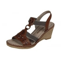 Brown leather sling back wedge sandal