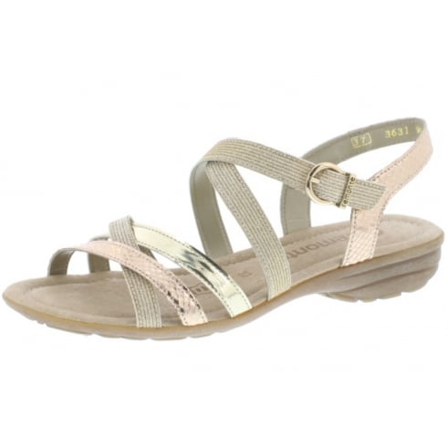 Remonte Copper and gold flat sandal with velcro ankle strap