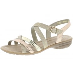 Copper and gold flat sandal with velcro ankle strap
