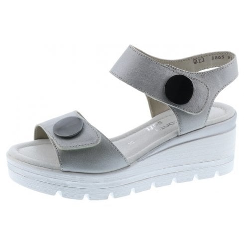 Remonte D1565-90 Silver Leather Wedge Sandal With Velcro Straps.