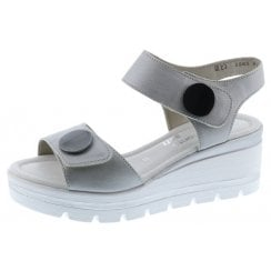 D1565-90 Silver Leather Wedge Sandal With Velcro Straps.