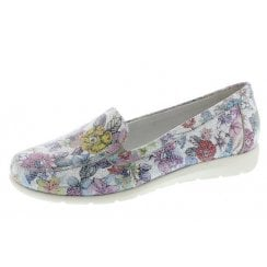 D1919-90 Ladies Multi-Coloured Flat Slip On Shoe.