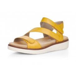 D2050-68 Yellow Leather Wedge Sandal With Velcro Straps