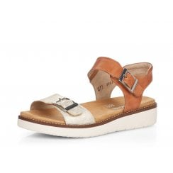 D2051-24 Tan/Cream Leather Wedge Sandal With Velcro Straps