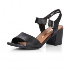 D2153-01 Black Leather Heeled Velcro Sandals
