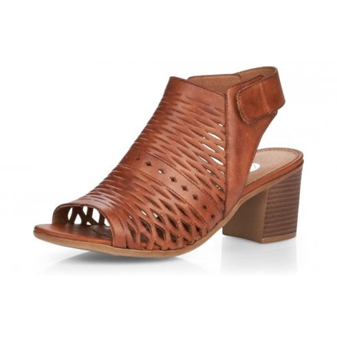 Remonte D2170-24 Tan Leather Heeled Sandal With Ankle Strap.