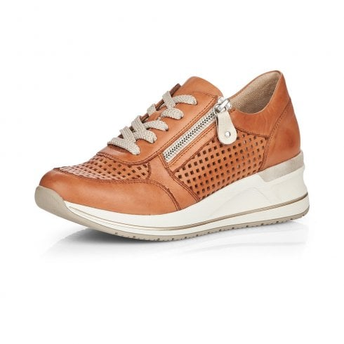Remonte D3200-24 Tan Leather Wedge Trainer With Laces And Side Zip